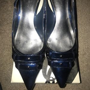 Navy Blue-Patent Leather- Pointed Toe Sling-backs